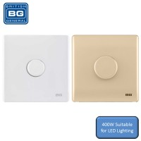 British General Neo Slimline 400W 1 Gang 2 Way Push Dimmer Switch