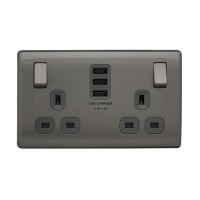British General FBS22U33G-01 *2-Gang Switched Socket Outlet w/3USB 3.1A -Grey