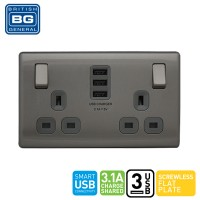 British General 2-Gang Switched Socket Outlet with 3 USB (3.1A)(FBS22U33G-01)