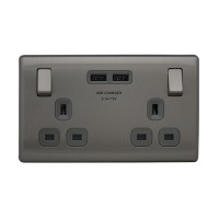 British General FBS22U3G *2-Gang Switched Socket Outlet w/2USB 3.1A -Grey