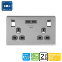 British General 2-Gang Switched Socket Outlet with 2 USB (3.1A)(FBS22U3G-01)
