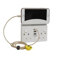 British General 922U33/S *2-Gang Switched Socket Outlet w/3USB 3.1A & Support Shelf -White