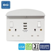British General 2-Gang Switched Socket Outlet with 3 USB (3.1A) and Support Shelf (922U33/S)