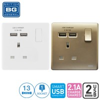 British General 1-Gang 13Amp Switched Socket Outlet with 2 USB (2.1A)