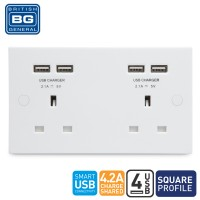 British General 2-Gang Unswitched Socket Outlet with 4 USB (4.2A)(924U44-01)