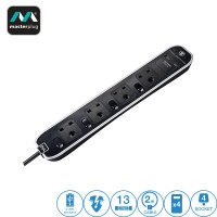 Masterplug 4 Gang 2 USB (2.1mAh) Surge Protector and Switch Button 2 Meter Extension Leads Glossy Black (SWSRGU42PB-MPA)