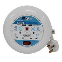 Masterplug (SATU04132USLW-MP) Reel 4M 2Gang Extension 2*USB 2.1A