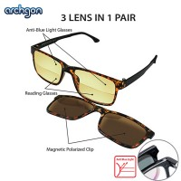 Archgon 3 Lens in 1 Pair Anti-Blue Light, 200 Degree Reading Half Lens and Magnetic Polarized Clip Glasses Reading Spectacle (GL-R2101-TO20)