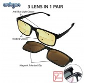 Archgon 3 Lens in 1 Pair Anti-Blue Light, 150 Degree Reading Half Lens and Magnetic Polarized Clip Glasses Reading Spectacle (GL-R2101-K15)