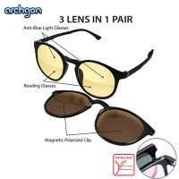 Archgon 3 Lens in 1 Pair Anti-Blue Light, 250 Degree Reading Half Lens and Magnetic Polarized Clip Glasses Reading Spectacle (GL-R2102-K25)