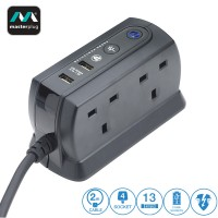 Masterplug 4 Gang 2 USB (2.1mAh) Surge Protector 2 Meter Extension Leads Matt Black (SRGDU42MB2-MY)