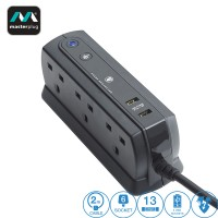 Masterplug 6 Gang 2 USB (2.1A) Surge Protector 2 Meter Extension Leads Matt Black (SRGDU62MB2-MY)