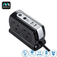 Masterplug 4 Gang 2 USB (3.1mAh) Switch Surge Protector 2 Meter Extension Leads Glossy Black (SRGDSU42PB-MPA)