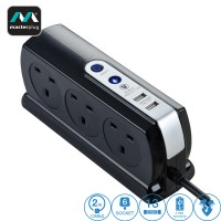 Masterplug 6 Gang 2 USB (3.1mAh) Switch Surge Protector 2 Meter Extension Leads Glossy Black (SRGDSU62PB-MPA)