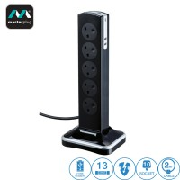 Masterplug 10 Gang 2 USB (3.1mAh) Switch Surge Protector 2 Meter Extension Leads (SRGTOWSU102PB)