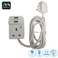 Masterplug 3 Gang 13amp 2 USB 2.1A Charging Extension Lead 2m (B3U2-MPA)