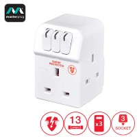 Masterplug Surge Protector 3 Gang 13Amp Switched Adaptor (MSWRG3-MPA)