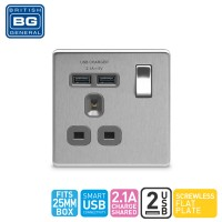British General Single Switched Socket Outlet with 2 USB (2.1A)(FBS21U2G-01)