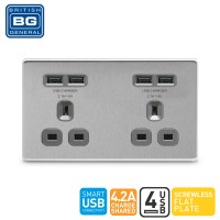 British General 2-Gang Unswitched Socket Outlet with 4 USB (4.2A) Brushed Steel Grey (FBS24U44G-01)