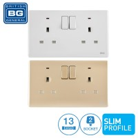 British General 2-Gang 13Amp Switched Socket Outlet with LED Power Indicator