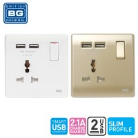 British General 1-Gang Universal Switched Socket Outlet with 2 USB (2.1A)