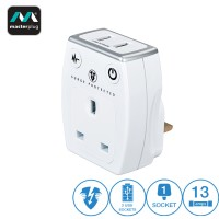 Masterplug High Gloss 2 USB (1.0A) 1 Gang Surge Adaptor White (SRGAUSBPW-MP)