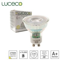 Luceco LED Lamp GU10 Glass Dimmable Truefit Replace any GU10 Lamp 2700K Warm White 5W 370 Lumen (LGDW5G37)