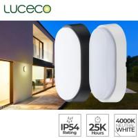 Luceco Eco Decorative Exterior IP54 Oval LED Bulkhead 4000K Neutral White 700lm 10w Wall Light (EBE010S40)