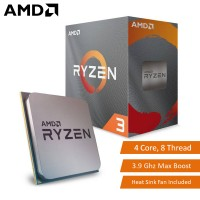 AMD Ryzen 3 3100 4 Core 8 Thread Desktop Processor 3.9Ghz Max Boost AM4 CPU with Heat Sink (100-100000284BOX)