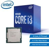 Intel Core i3 10th Gen i3-10100 Processor 4 Core 8 Thread 4.3Ghz Max Turbo LGA1200 CPU with Heat Sink (BX8070110100)