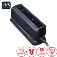 Masterplug Surge Protector 6 Gang 2 Meter Extension Leads Matte