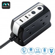 Masterplug 4 Gang 2 USB Surge Protector 2 Meter Extension Leads Glossy Black (SRGDU42PB-MP)