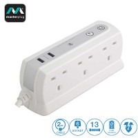 Masterplug 6 Gang 2 USB (2.1mAh) Surge Protector 2 Meter Extension Leads Glossy White (SRGDU62PW2-MY)