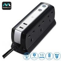 Masterplug 6 Gang 2 USB (2.1mAh) Surge Protector 2 Meter Extension Leads Glossy Black (SRGDU62PB2-MY)