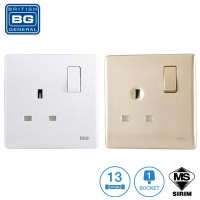 British General 1-Gang 13Amp Switched Socket Outlet Single / Double Pole