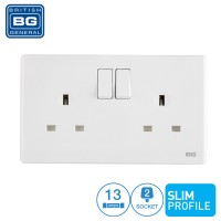 British General 2-Gang 13Amp Switched Socket Outlet Simline White (PCWH22)