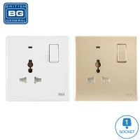 British General 1-Gang Universal Switched Socket Outlet with LED Power Indicator