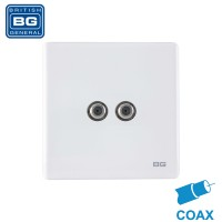 British General Co-axial and Satellite 2-Gang Wall Socket (PCWH65-01)