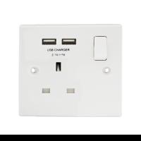 British General 921U *1-Gang Switched Socket Outlet w/2 USB 2.1A