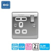 British General Single Switched Socket Outlet with 2 USB (2.1A) White Insert (NBS21UW-01)