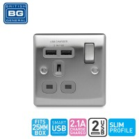 British General Single Switched Socket Outlet with 2 USB (2.1A) Grey Insert (NBS21UG-01)