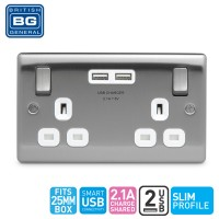 British General 2-Gang Switched Socket Outlet with 2 USB (2.1A) White Insert (NBS22UW-01)