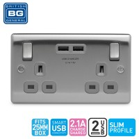 British General 2-Gang Switched Socket Outlet with 2 USB (2.1A) Grey Insert (NBS22UG-01)